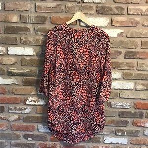 TOPSHOP Neon Leopard High Low Tunic Dress